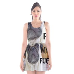 Pug Love W Picture Scoop Neck Skater Dress