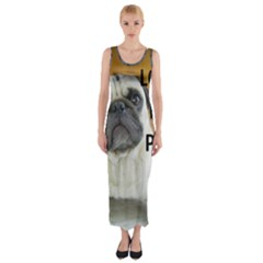 Pug Love W Picture Fitted Maxi Dress