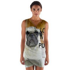 Pug Love W Picture Wrap Front Bodycon Dress