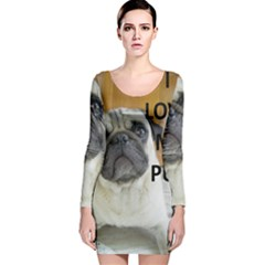 Pug Love W Picture Long Sleeve Velvet Bodycon Dress