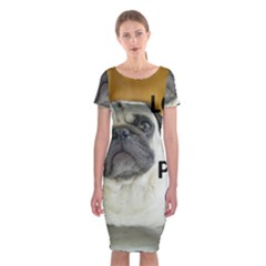 Pug Love W Picture Classic Short Sleeve Midi Dress