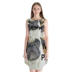 Pug Love W Picture Sleeveless Chiffon Dress