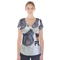 Pug Love W Picture Short Sleeve Front Detail Top