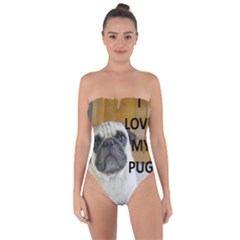 Pug Love W Picture Tie Back One Piece Swimsuit