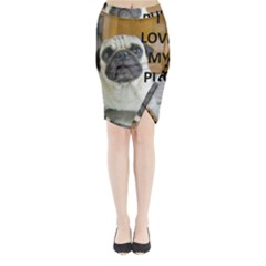Pug Love W Picture Midi Wrap Pencil Skirt