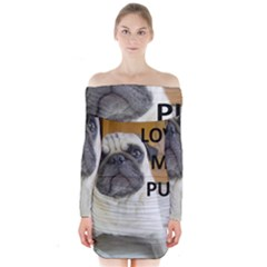 Pug Love W Picture Long Sleeve Off Shoulder Dress