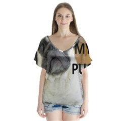Pug Love W Picture Flutter Sleeve Top