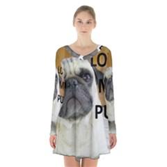 Pug Love W Picture Long Sleeve Velvet V-neck Dress