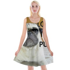 Pug Love W Picture Reversible Velvet Sleeveless Dress