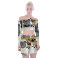 Pug Love W Picture Off Shoulder Top with Skirt Set