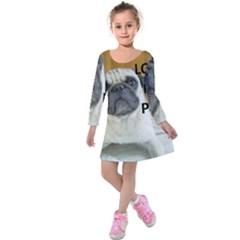 Pug Love W Picture Kids  Long Sleeve Velvet Dress