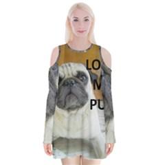Pug Love W Picture Velvet Long Sleeve Shoulder Cutout Dress