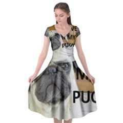 Pug Love W Picture Cap Sleeve Wrap Front Dress