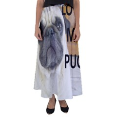 Pug Love W Picture Flared Maxi Skirt