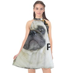 Pug Love W Picture Halter Neckline Chiffon Dress