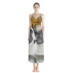 Pug Love W Picture Button Up Chiffon Maxi Dress