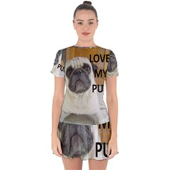 Pug Love W Picture Drop Hem Mini Chiffon Dress