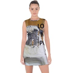 Pug Love W Picture Lace Up Front Bodycon Dress