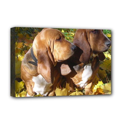 2 Bassets Deluxe Canvas 18  x 12