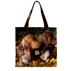 2 Bassets Zipper Grocery Tote Bag