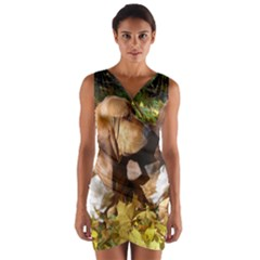 2 Bassets Wrap Front Bodycon Dress