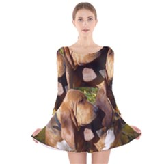 2 Bassets Long Sleeve Velvet Skater Dress