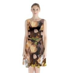 2 Bassets Sleeveless Waist Tie Chiffon Dress