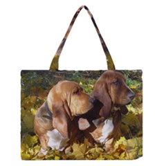 2 Bassets Medium Zipper Tote Bag