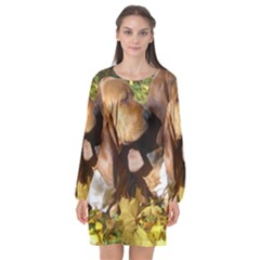 2 Bassets Long Sleeve Chiffon Shift Dress