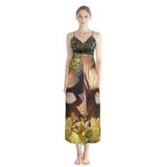2 Bassets Button Up Chiffon Maxi Dress