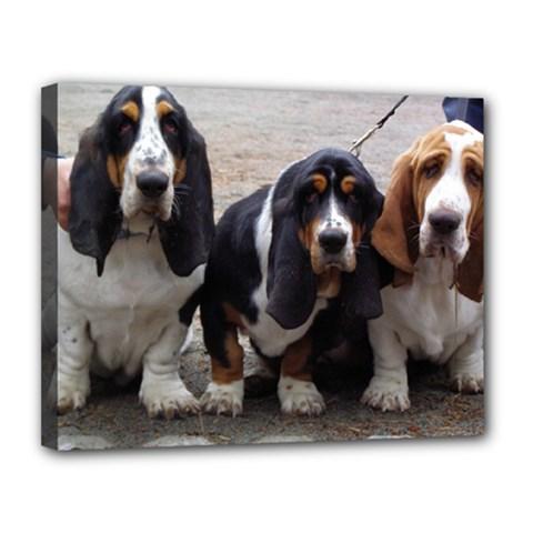 3 Basset Hound Puppies Canvas 14  x 11
