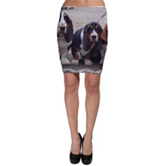 3 Basset Hound Puppies Bodycon Skirt