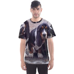 3 Basset Hound Puppies Men s Sports Mesh Tee