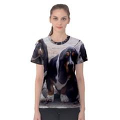 3 Basset Hound Puppies Women s Sport Mesh Tee