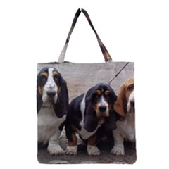 3 Basset Hound Puppies Grocery Tote Bag