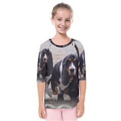 3 Basset Hound Puppies Kids  Quarter Sleeve Raglan Tee