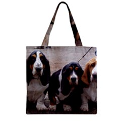 3 Basset Hound Puppies Zipper Grocery Tote Bag