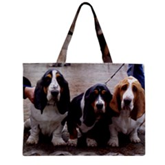 3 Basset Hound Puppies Zipper Mini Tote Bag