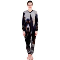 3 Basset Hound Puppies OnePiece Jumpsuit (Ladies)