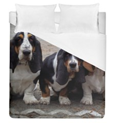 3 Basset Hound Puppies Duvet Cover (Queen Size)