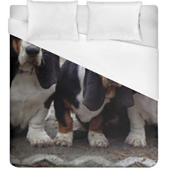 3 Basset Hound Puppies Duvet Cover (King Size)
