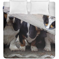 3 Basset Hound Puppies Duvet Cover Double Side (King Size)