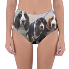 3 Basset Hound Puppies Reversible High-Waist Bikini Bottoms