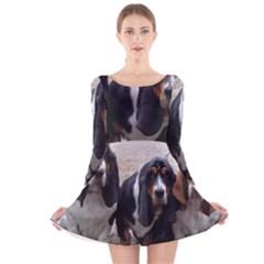 3 Basset Hound Puppies Long Sleeve Velvet Skater Dress