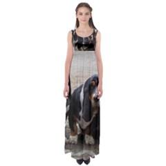 3 Basset Hound Puppies Empire Waist Maxi Dress