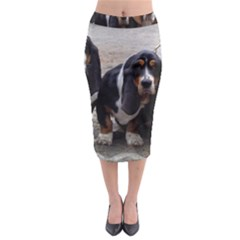 3 Basset Hound Puppies Midi Pencil Skirt