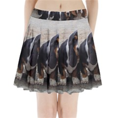 3 Basset Hound Puppies Pleated Mini Skirt