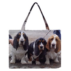 3 Basset Hound Puppies Medium Zipper Tote Bag