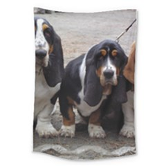 3 Basset Hound Puppies Large Tapestry