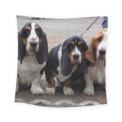 3 Basset Hound Puppies Square Tapestry (Small)